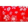 Мех игрушечный снежинки на красном фоне ИТЖФ2-707-К2