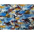 Кулирка с рисунком(самолеты на голубом фоне) 100%хб 140гр/м2 шир.180см о.е.