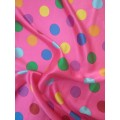 Атлас цветной горох на розовом фоне 100% п/э арт.2610 шир.150см Корея