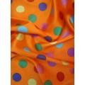 Атлас цветной горох на оранжевом фоне 100% п/э арт.2610 шир.150см Корея