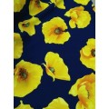 Барби желтые маки на т.синем фоне шир.150см 80%п.э,15%вискоза,5%эластан